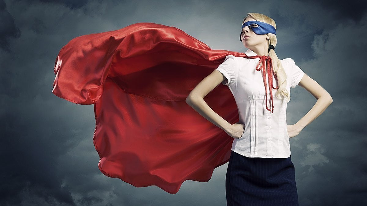 A businesswoman takes a 'Wonder Woman stance' before an important meeting.