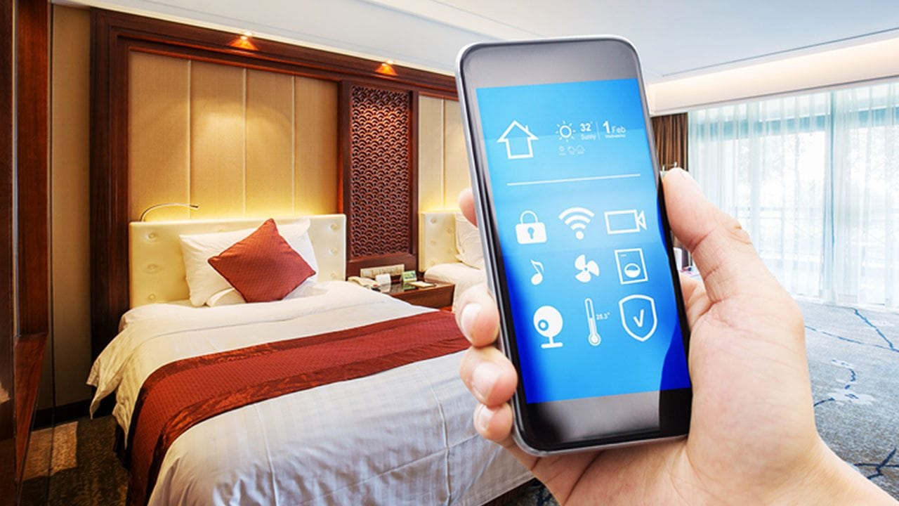 Changing temperatures and dimming lights could all be done through guests' smartphones