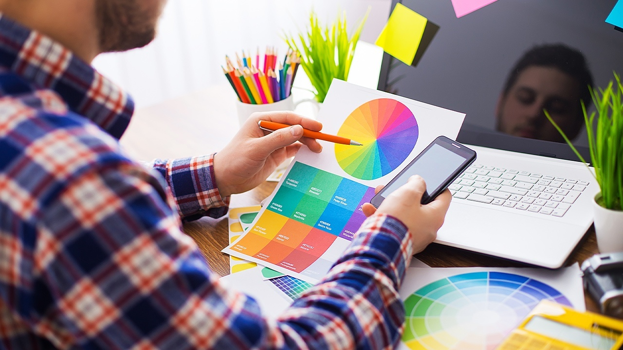 In your web design courses, you'll learn about colour theory and other creative skills